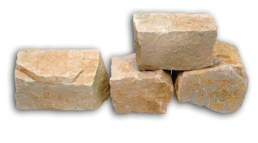 Wesersandstein Knacker und Trockenmauer gelb grau